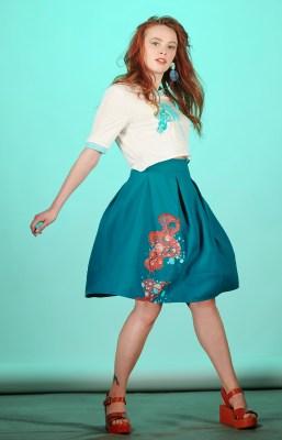 jupe bleu canard imprimée et brodée