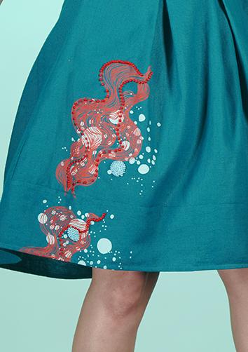 jupe boule turquoise fait main