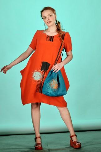 robe rouge été imprimée à la main