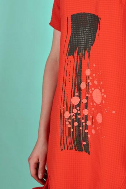 robe longue rouge été imprimée à la main