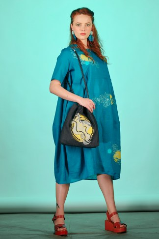 robe ample été lin turquoise