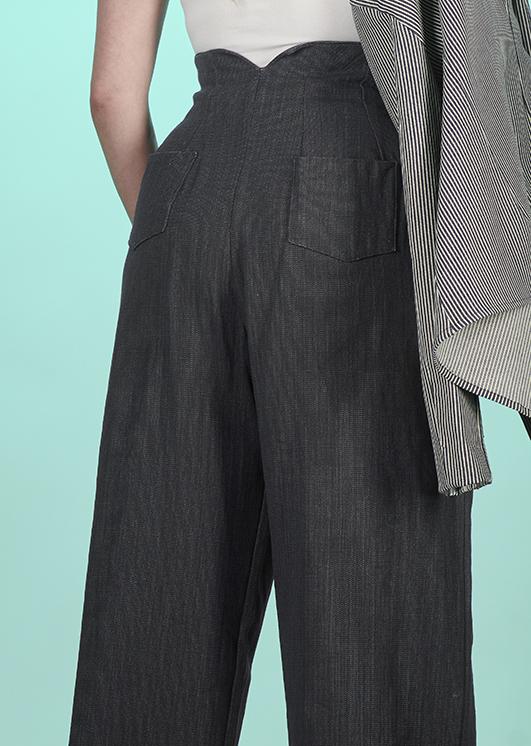 pantalon femme taille haute coton