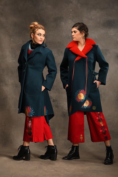manteau-vert-bleu-motifs-imprimés-col-michele-forest