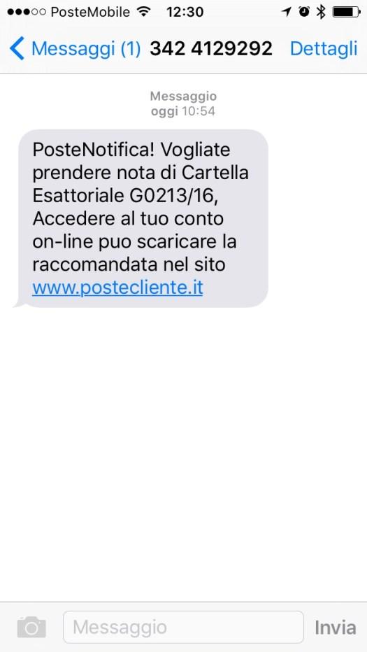 Esempio di fishing via SMS per Poste Italiane