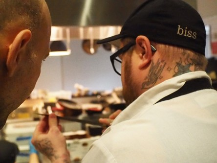 Knifemaker Adam Simha (L) and Chef Jamie Bissonette (R) - Little Donkey, Cambridge