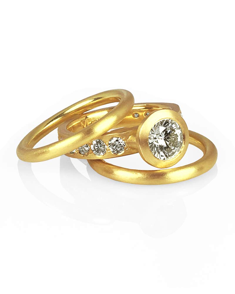 22k Gold Diamond Ring Set Michele Mercaldo Jewelry