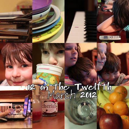 Day 071 Monday March 12 -- Twelve on The Twelfth  From left to right as we read: stack of books on my desk, stack of dirty dishes on my kitchen counter, our electronic keyboard, Caroline with a friend on speaker phone while they play Roblox, my son, my son loves juice, sibling love x 2 (maybe the third time would have been the charm but I don't ask my kids to post much), wolf watching kids on laptops (original photo includes the kids; there is a drawback to this collage!), candles on the mantle helping me practice depth of field, the inside of Ian's water glass, and my fruit bowl.