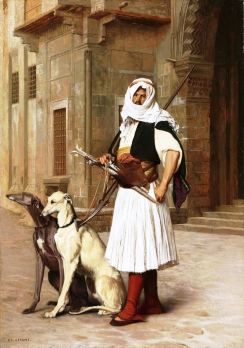 Arnaut with two whippet dogs, Jean-Léon Gérôme (Pinterest)