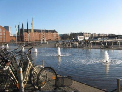 Bikes in the Christianshavn neighborhood, overlooking the canals.