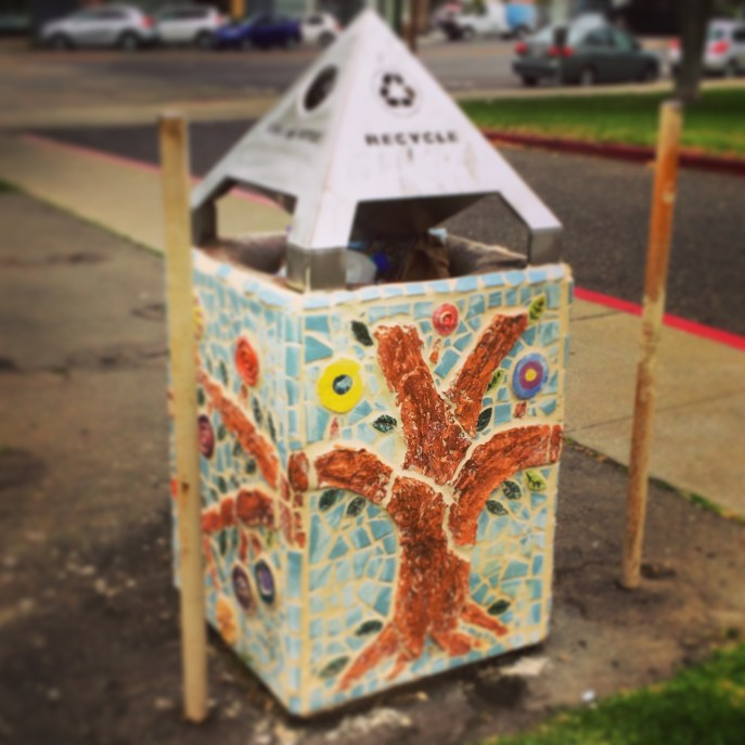 Pretty recycle bin in Oakland.