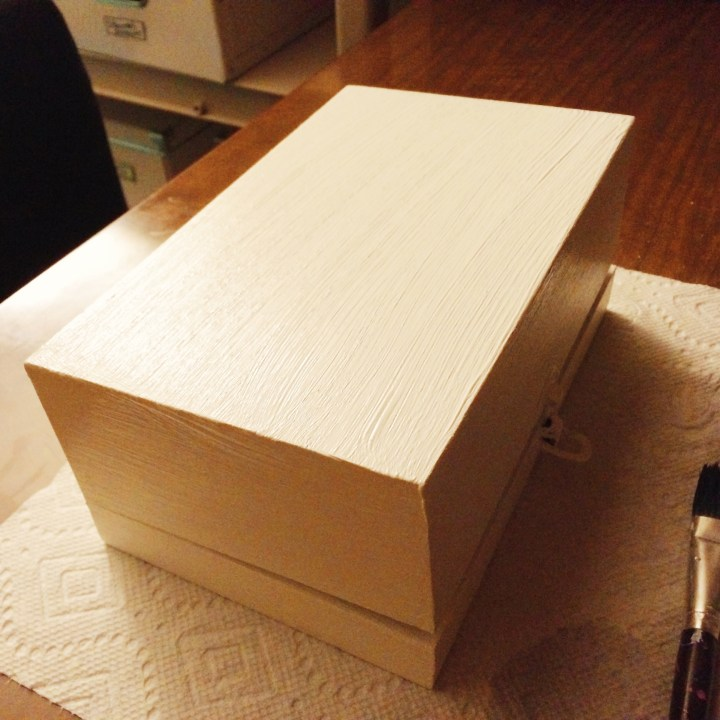 Painting my wooden treasure box white to match my dresser. Fun & relaxing little project.