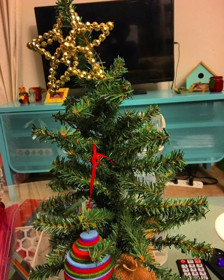 Mini Christmas tree for my apartment (from Target's dollar section).