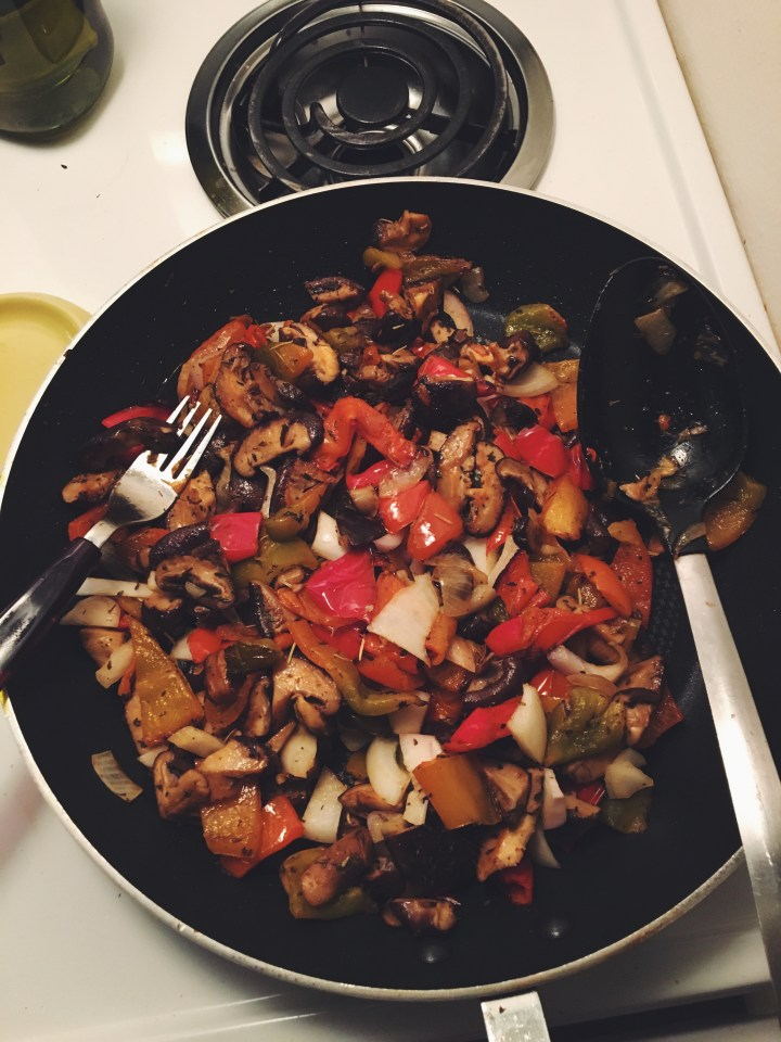 Shiitake mushrooms and red peppers.