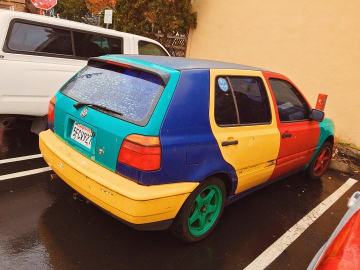 Colorful car. Looks like Google!