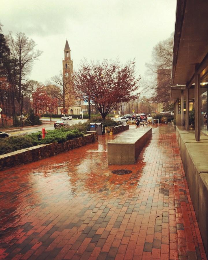 It's raining on campus and I'm LOVING it.