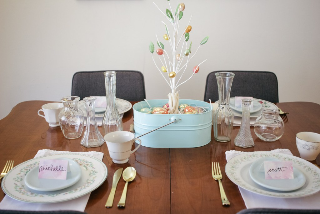 Simple Seasonal Spring Easter Tablescape Floral Pastels Watercolors