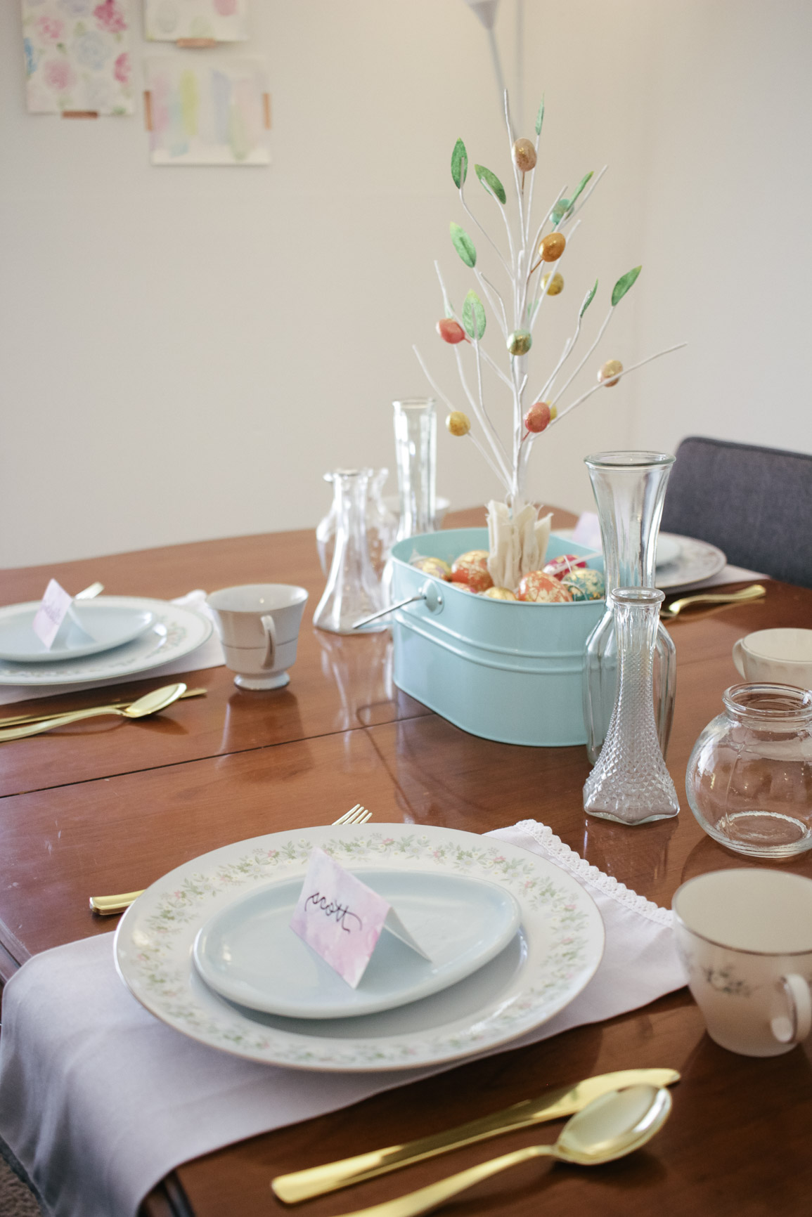 Easter Tablescape Place Settings Floral Spring Table