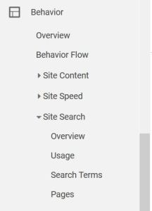 Google Analytics Search Terms