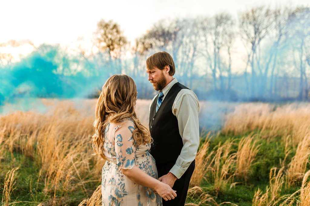 Franklin-Tennessee-Maternity-Styled-Floral-Dress-Field-Golden-Smoke-Bomb-Gender-Reveal