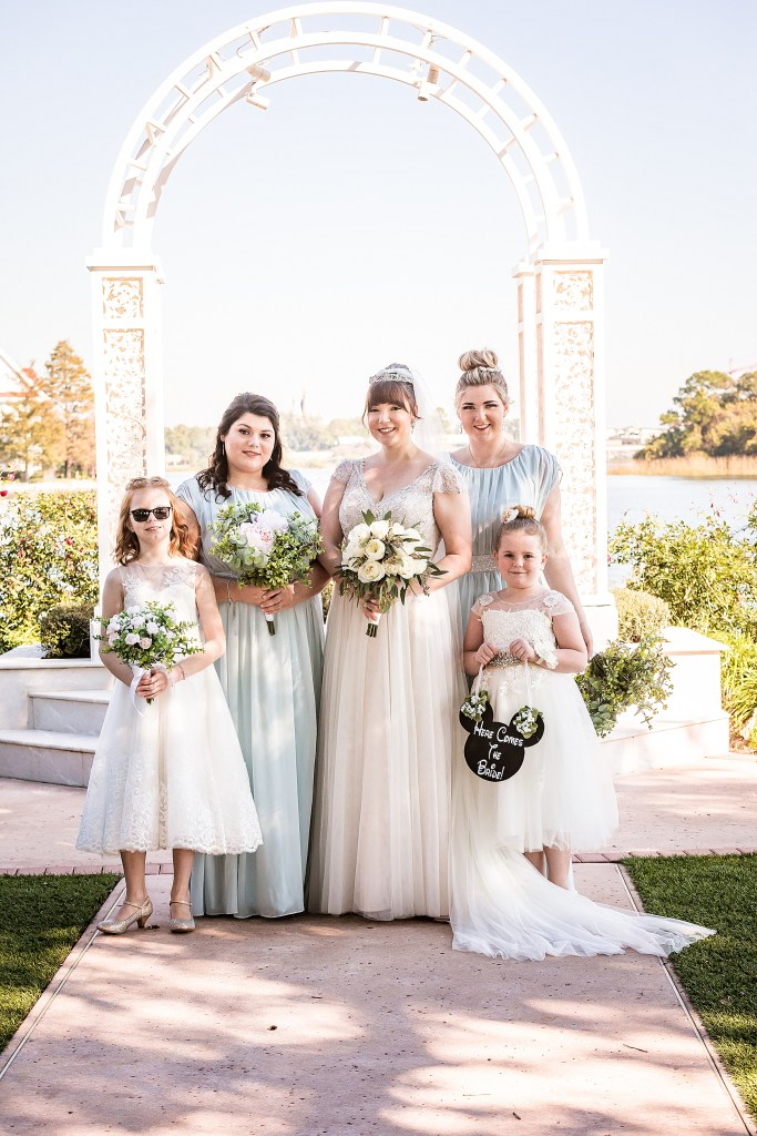 Disneys wedding pavilion bridal party photo