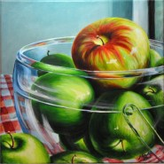 Honey Crisp Apple acrylic painting Michelle East