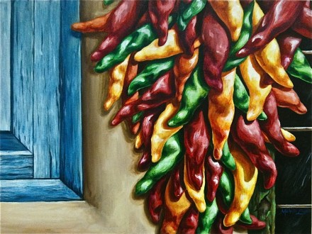 Ristras acryllic painting by michelle east chili peppers