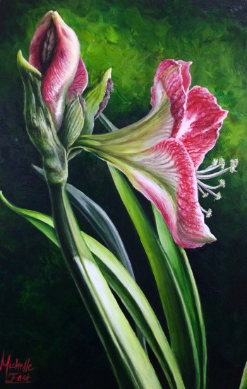 Light of the World Red and White Amaryllis Acrylic Painting by Michelle East