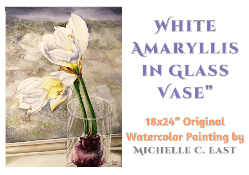 White Amaryllis Watercolor Painting