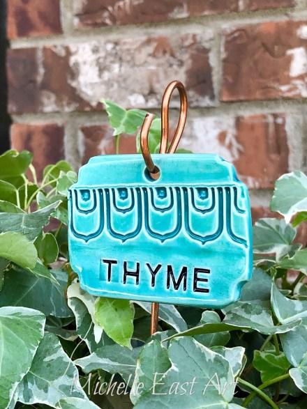 Thyme clay Herb Garden Marker Label