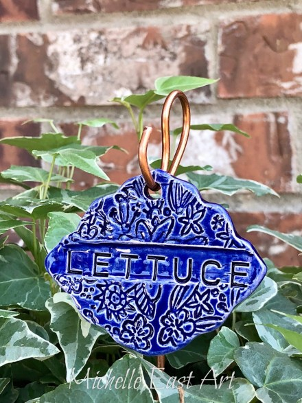 Lettuce clay garden marker label