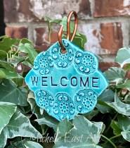 Welcome clay Garden Marker