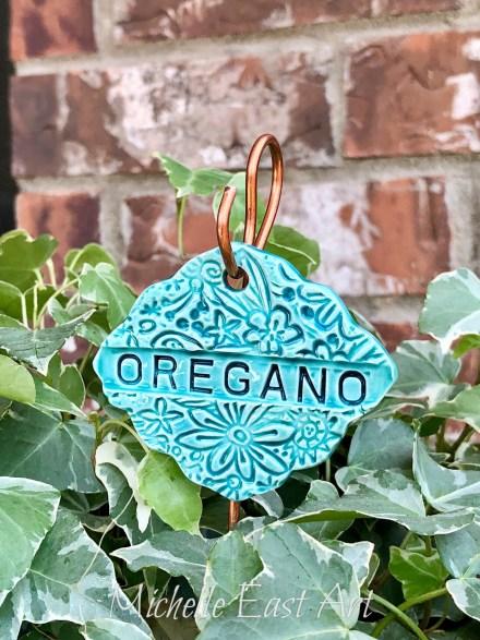 Oregano clay Garden Marker LabelV