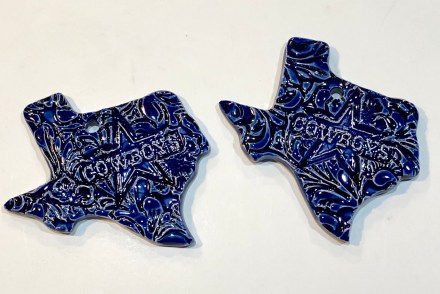Cowboys Ceramic Ornament Handmade