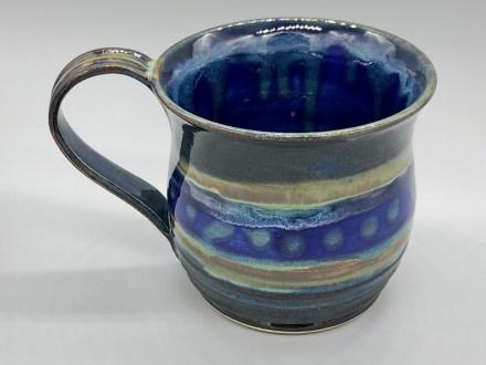 Blue Green Striped Handmade mug