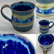 Blue Green Striped Handmade mug