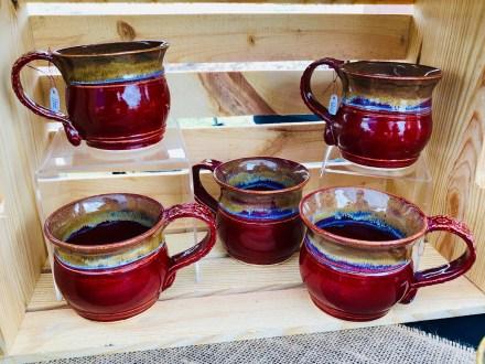 Deep Red Double Rib Mugs