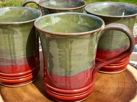 Deep Red and Seaweed Handmade Mugs