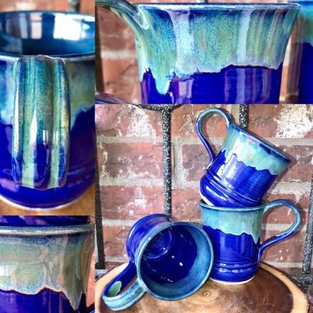 Cobalt and Seaweed Handmade mugs