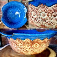 Indigo Blue with Lace Salad Serving Bowl