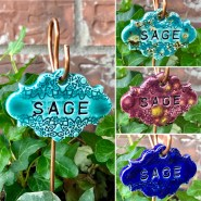 Sage Ceramic garden marker