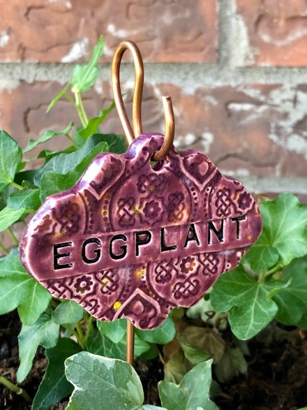 Eggplant Ceramic Garden Marker