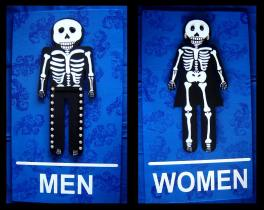 Day of the Dead bathroom signs