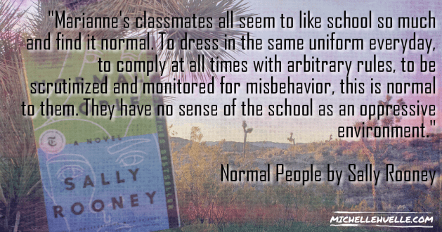 School system feels oppressive quote from book and book cover on desert background.