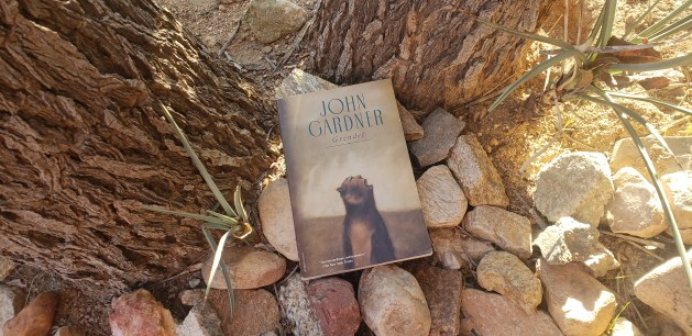 Grendel by John Gardner book cover on a desert background.
