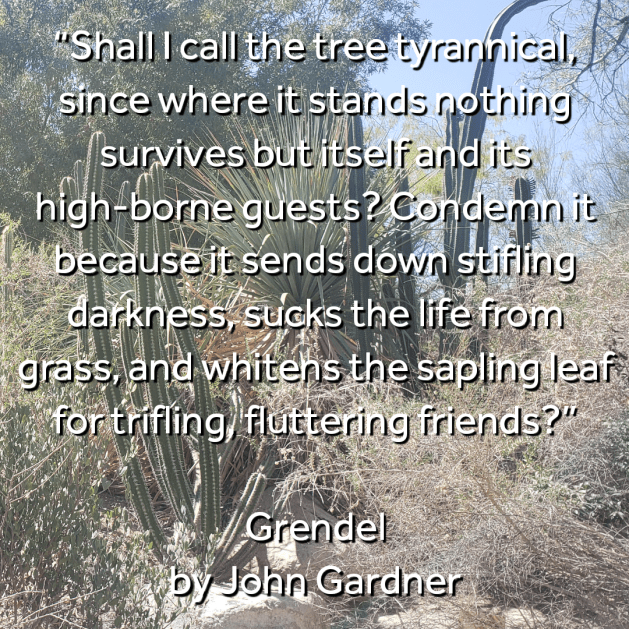 Grendel quote on a desert background.