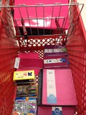 We bought every pink school supply at Target.