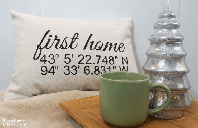 Map Coordinates throw pillow for first home by Michelle j designs