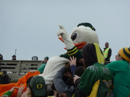 "Puddles says ""Go Ducks!"""
