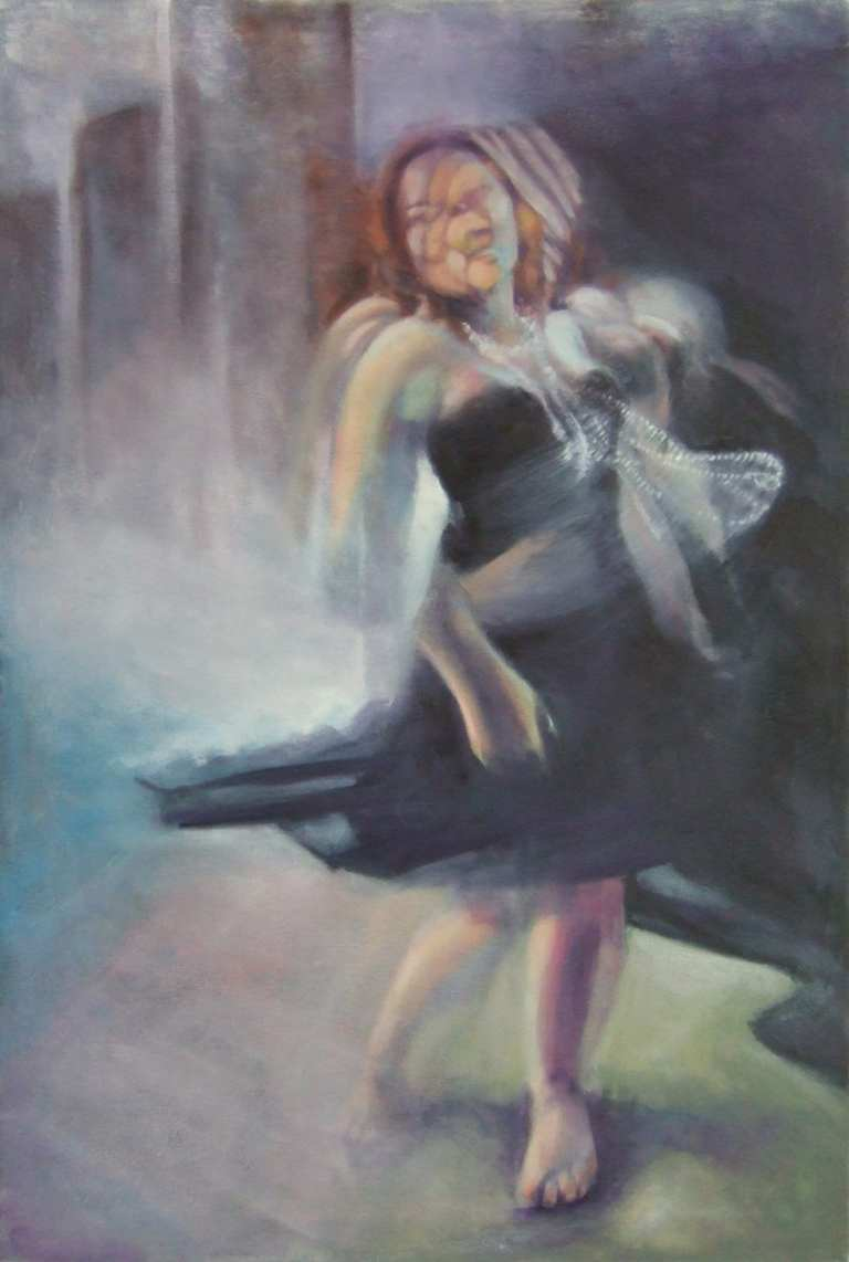 Oil Painting - Movement - Girl with pearls dancing in a black dress.