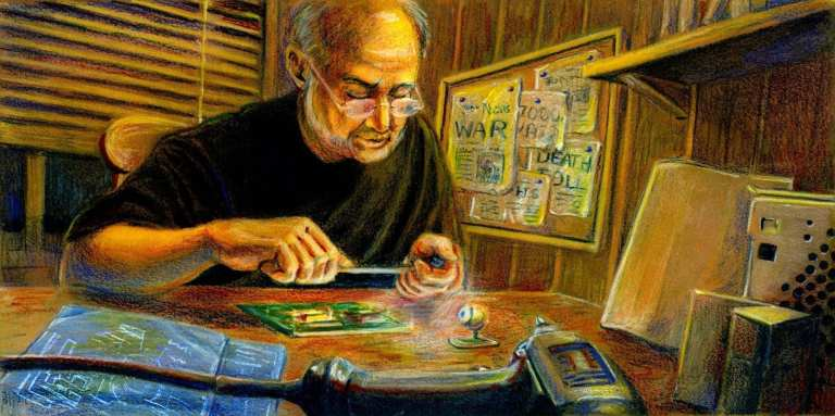 Watercolor and colored-pencil illustration of a man working on circuitry.